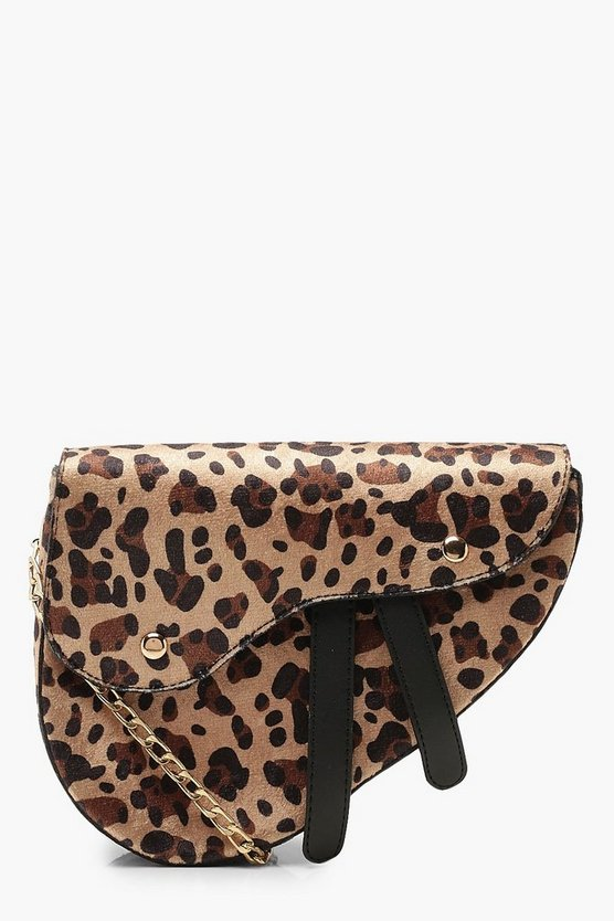 Leopard Wave Flap Saddle Cross Body Bag