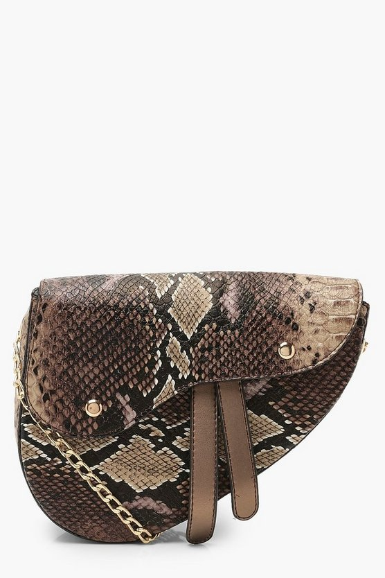 Womens Brown Snake Wave Flap Saddle Cross Body Bag