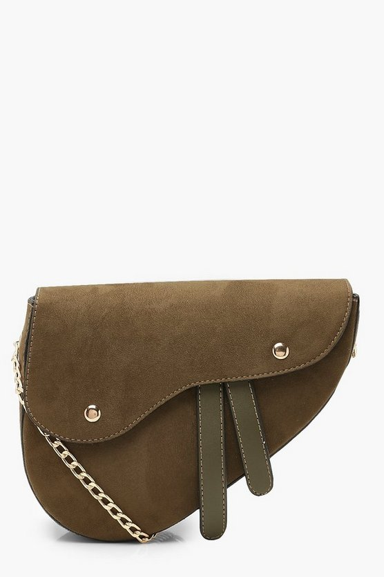 Womens Green Wave Flap Saddle Cross Body Bag