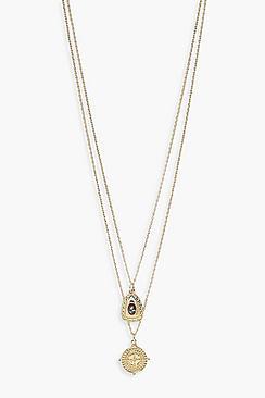 Layered Semi Precious Stone + Bar Necklace