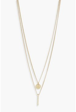 Womens Gold Small Coin + Bar Double Layered Necklace