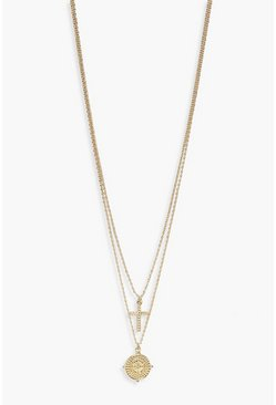 Womens Gold Textured Cross + Compass Layered Necklace