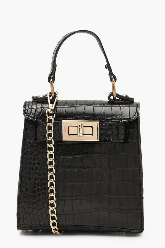 Faux Croc Mini Lock Grab Bag Faux Croc Mini Lock Grab Bag by Boohoo