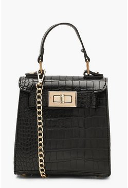Womens Black Faux Croc Mini Lock Grab Bag