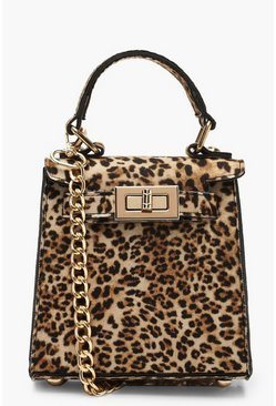 Natural Suedette Leopard Mini Lock Grab Bag