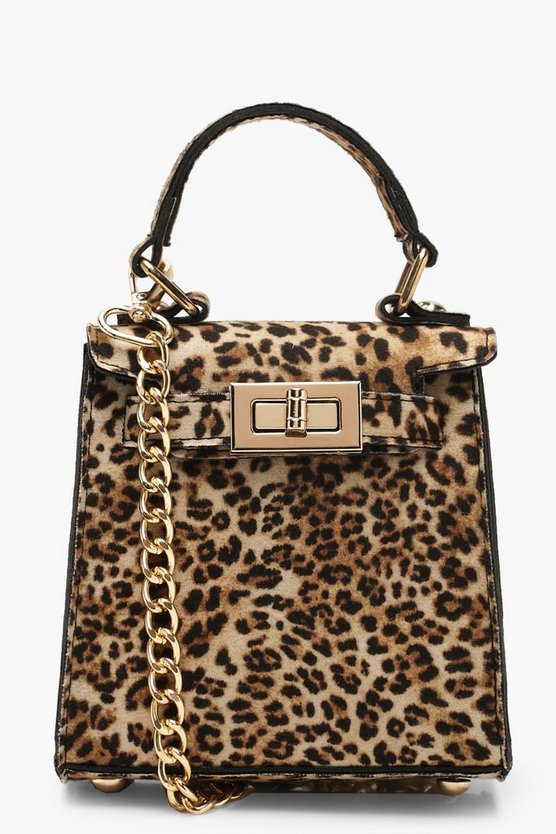 Womens Natural Suedette Leopard Mini Lock Grab Bag
