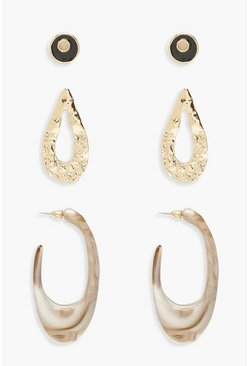 Womens Gold Hammered Marble Earring Pack