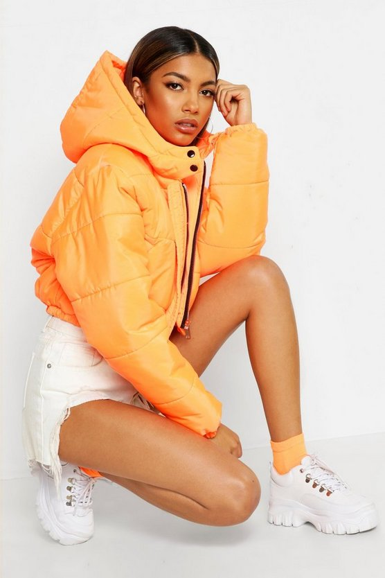 Womens Neon-orange Crop Hooded Puffer Jacket