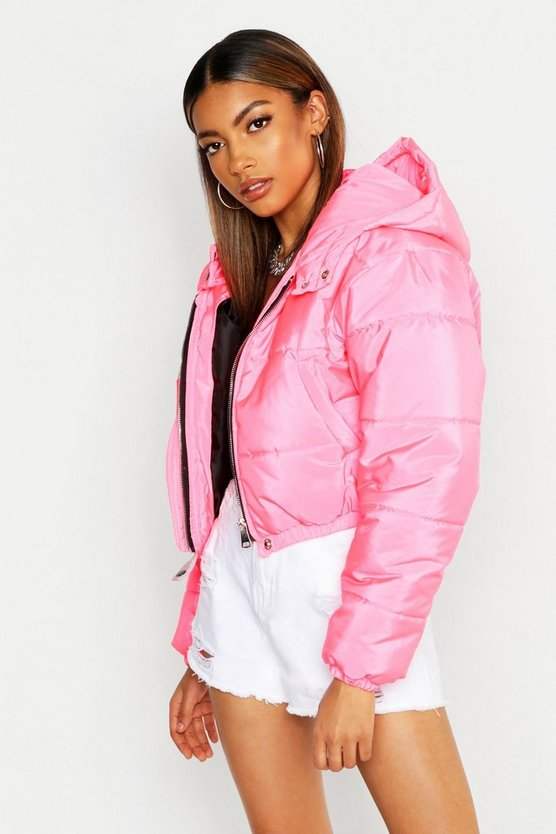 Womens Neon-pink Crop Hooded Puffer Jacket