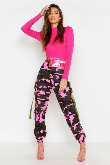 Womens Pink Fluroescent Camo Cargo Trousers
