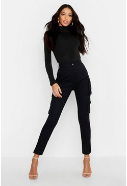 Womens Black High Waist Skinny Cargo Pocket Trouser