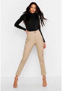 Sand High Waist Skinny Cargo Pocket Pants