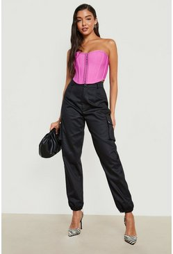 Womens Black Woven Pocket Cargo Pants
