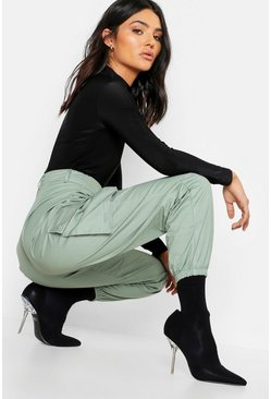 Womens Sage Woven Pocket Cargo Trousers