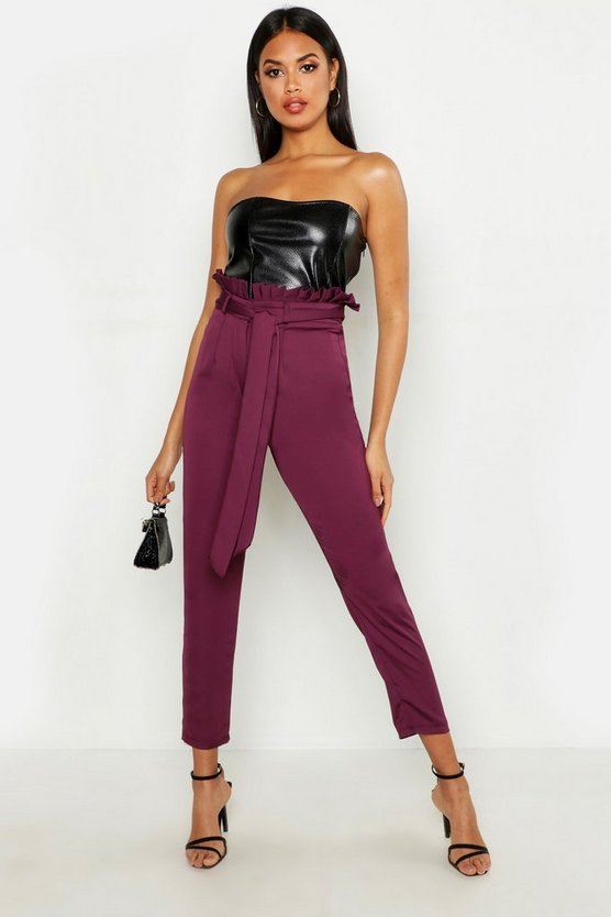Womens Berry Paperbag Waist Satin Slimline Trousers