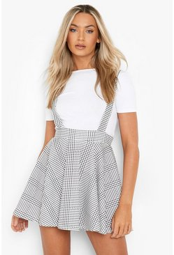 Womens Black Dogtooth Check Pinafore Skirt