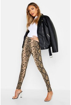 Womens Tan Ribbed Snake Leggings