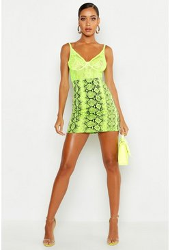 Lime Neon Snake Mini Skirt