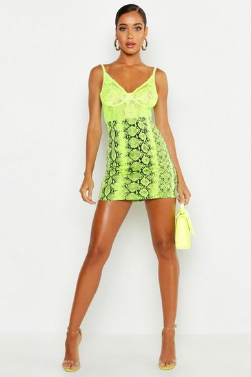 Womens Lime Neon Snake Mini Skirt