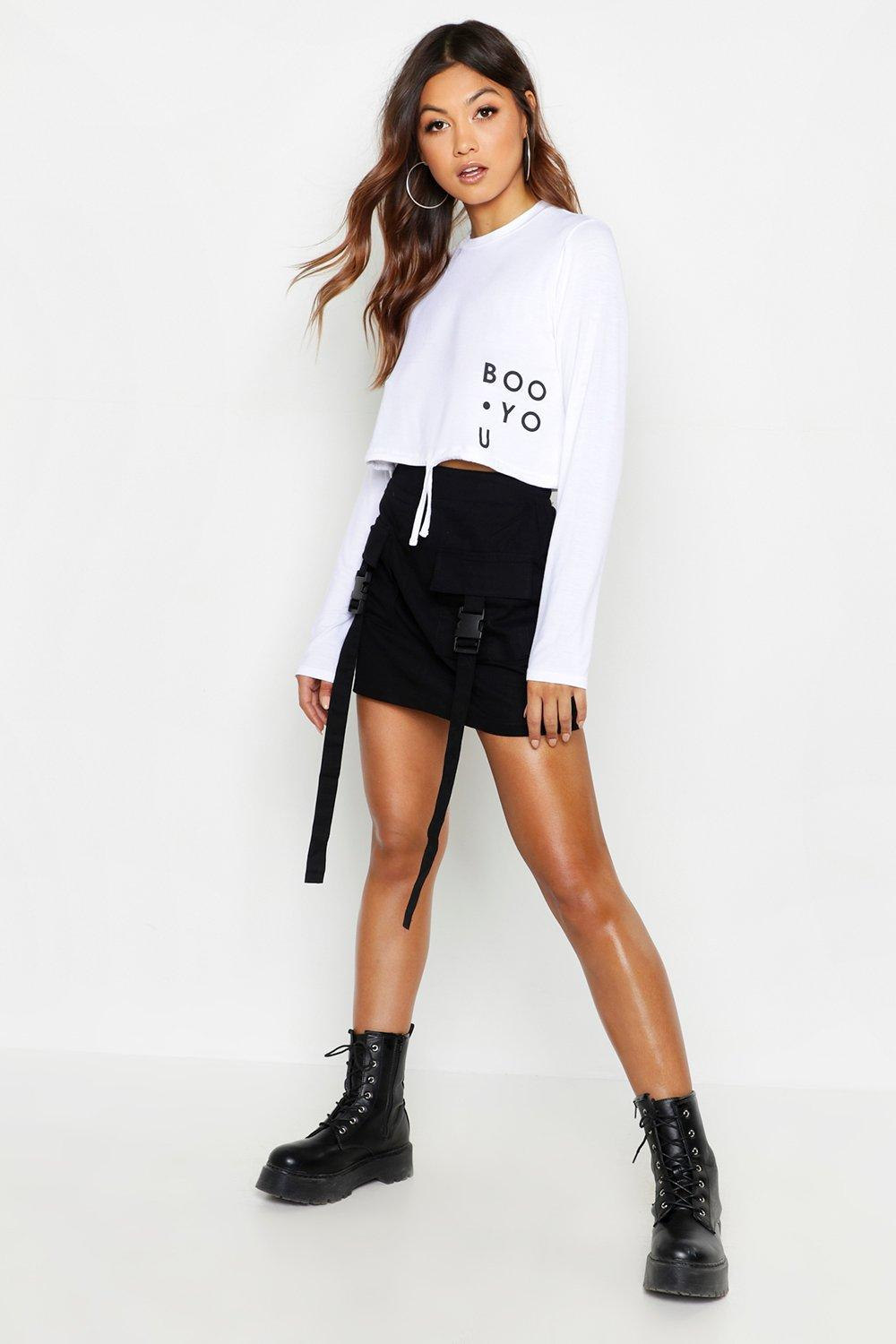 Boo You Printed Top With Drawcord