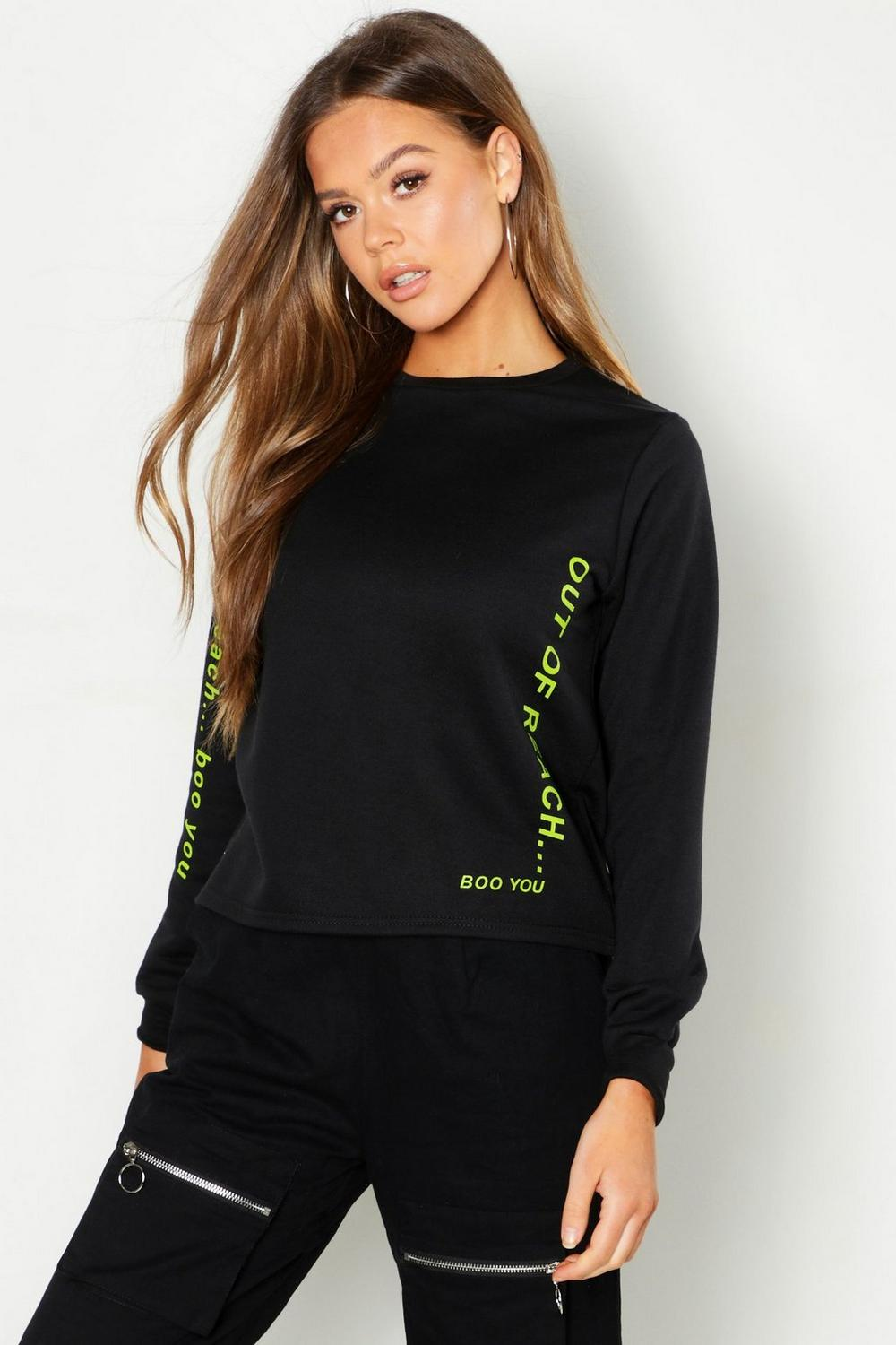 Out Of Reach Printed Sweat by Boohoo