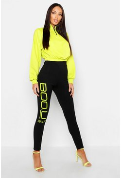 Womens Black Boo U 247 Neon Printed Leggings