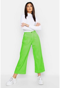 Womens Neon High Rise Cropped Wide Leg Jean