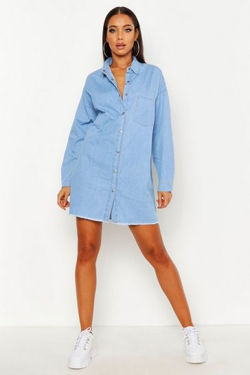 Mid blue Oversized Shirt Dress