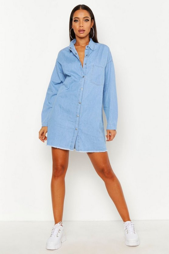 Womens Mid blue Oversized Shirt Dress