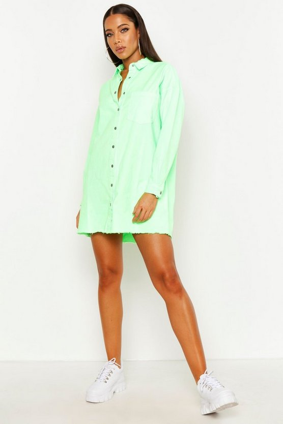 Womens Neon-green Oversized Shirt Dress