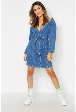 Womens Indigo Neon Off The Shoulder Denim Dress