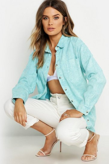 Womens Green Oversize Acid Wash Rigid Denim Shirt