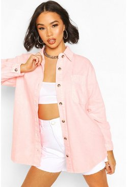 Gonna in denim rigido oversize a lavaggio acido, Pink