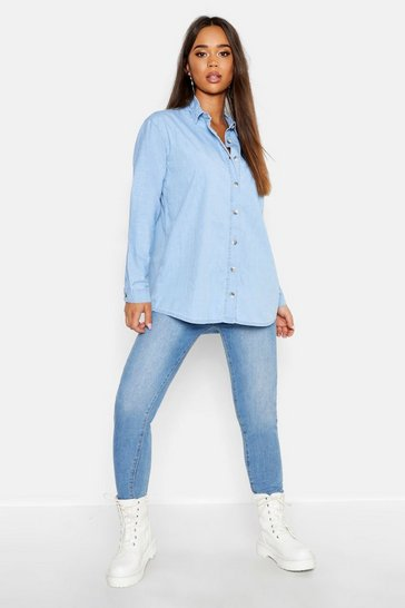 Womens Light blue Oversize Rigid Denim Shirt