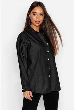 Washed black Oversize Rigid Denim Shirt