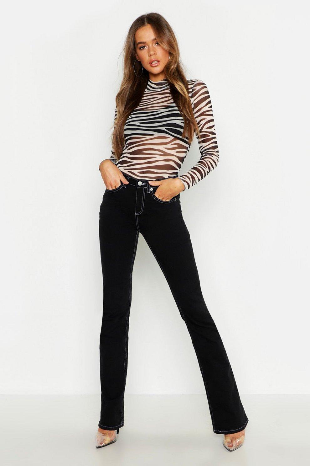 869461bd1ee2 High Rise Contrast Stitch Stretch Flare Jean | Boohoo