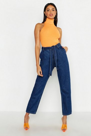 Womens Indigo High Rise Belted Tapered Hem Mom Jeans