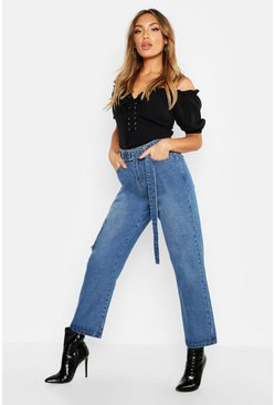 Womens Light blue High Waist Belted Rigid Mom Jeans