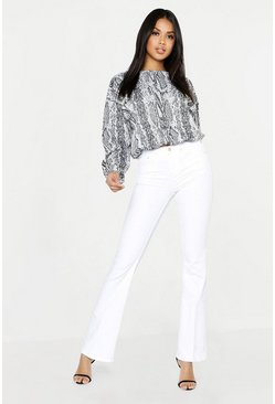 Womens White Mid Rise Skinny Flare Jeans