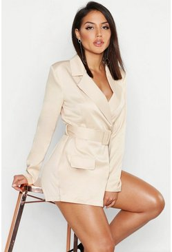 Womens Nude Satin Belted Blazer Playsuit