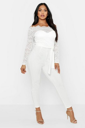 Womens White Off The Shoulder Lace 2 in 1 Jumpsuit