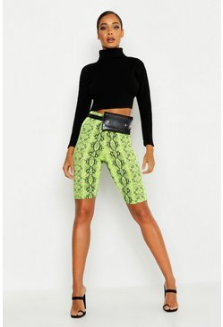 Womens Lime Neon Snake Cycling Shorts