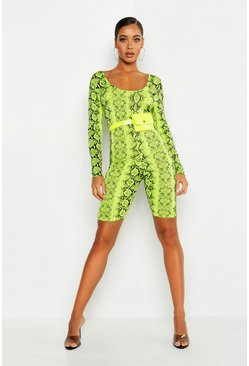 Womens Lime Neon Snake High Neck Unitard