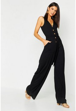 Womens Black Mock Horn Button Ribbed Tie Belt Pocket Jumpsuit