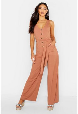 Womens Camel Mock Horn Button Rib Tie Belt Pocket Jumpsuit