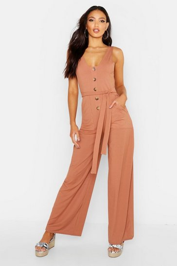 Womens Camel Mock Horn Button Ribbed Tie Belt Pocket Jumpsuit