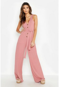 Womens Rose Mock Horn Button Ribbed Tie Belt Pocket Jumpsuit