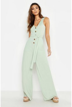 Sage Mock Horn Button Ribbed Tie Belt Pocket Jumpsuit