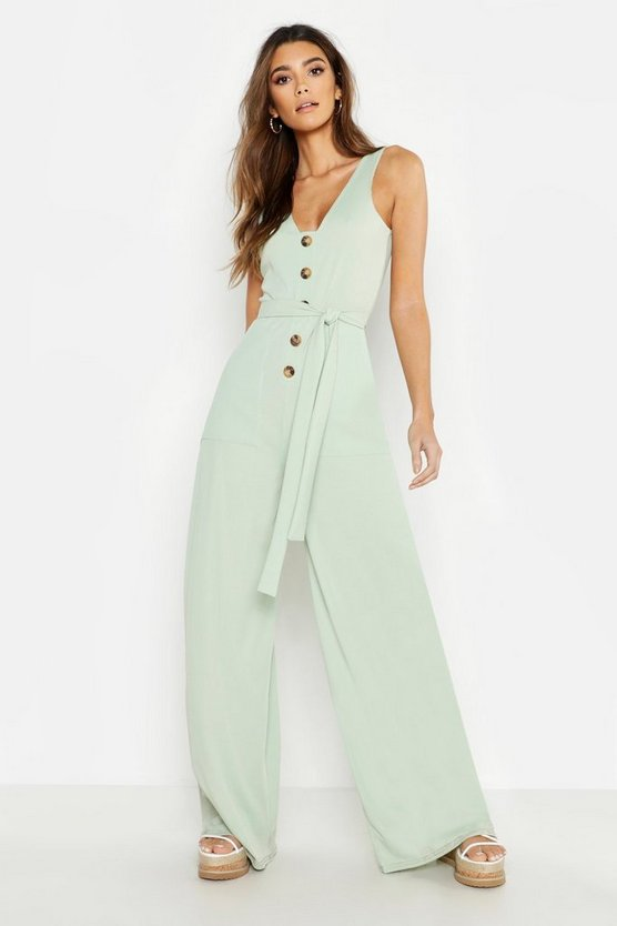 Mock Horn Button Rib Tie Belt Pocket Jumpsuit