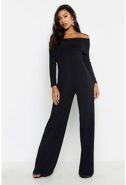 Womens Black Jumbo Rib Bardot Wide Leg Jumpsuit